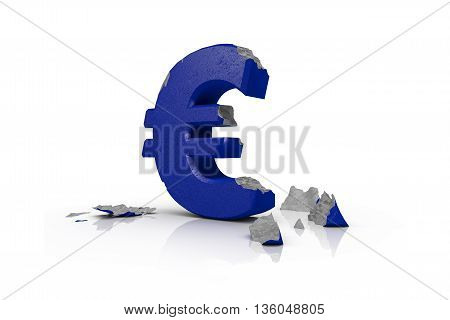 3d illustration of a battered Euro Sign after the Brexit