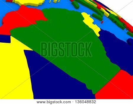 Algeria On Colorful 3D Globe