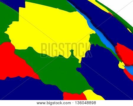 Sudan And South Sudan On Colorful 3D Globe