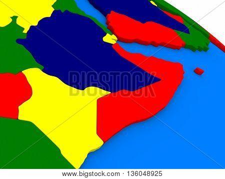 Somalia And Ethiopia On Colorful 3D Globe