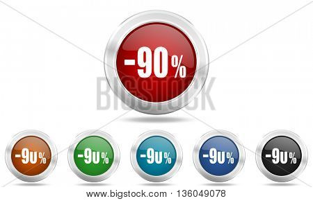 90 percent sale retail round glossy icon set, colored circle metallic design internet buttons