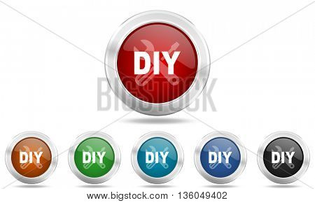 diy round glossy icon set, colored circle metallic design internet buttons