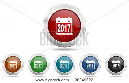 new year 2017 round glossy icon set, colored circle metallic design internet buttons