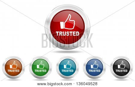 trusted round glossy icon set, colored circle metallic design internet buttons