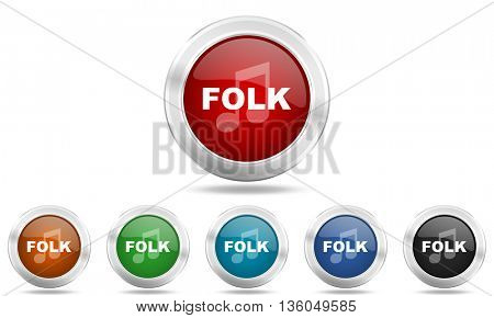 folk music round glossy icon set, colored circle metallic design internet buttons