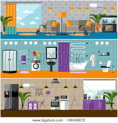 Vector set of house interior banners. Apartment interior with furniture, living room, bathroom, kitchen.