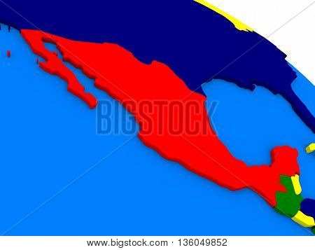 Mexico On Colorful 3D Globe