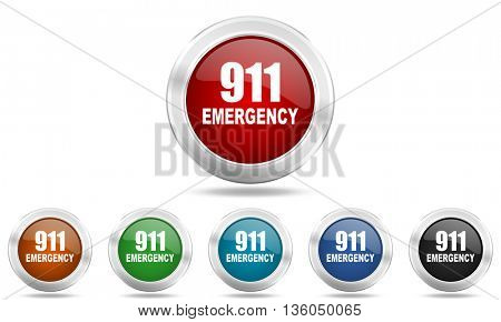 number emergency 911 round glossy icon set, colored circle metallic design internet buttons