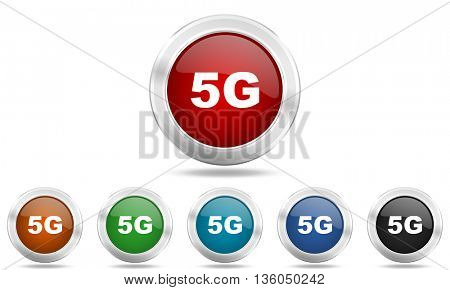 5g round glossy icon set, colored circle metallic design internet buttons