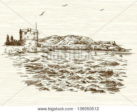 Defensive tower in Mediterranean Sea. Hand drawn illustration.
