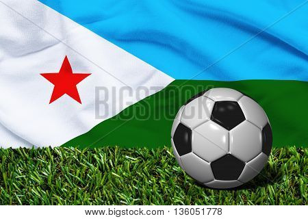 Soccer Ball On Grass With Djibouti Flag Background, 3D Rendering