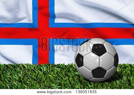 Soccer Ball On Grass With Faroe Islands Flag Background, 3D Rendering