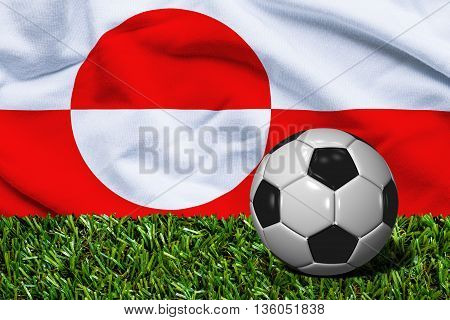 Soccer Ball On Grass With Greenland Flag Background, 3D Rendering