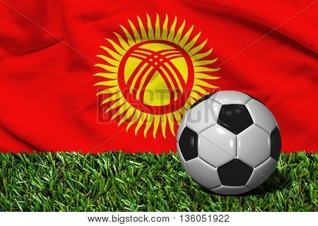 Soccer Ball On Grass With Kyrgyzstan Flag Background, 3D Rendering