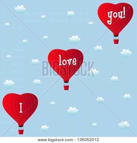 aerostats heart red flying in the clouds, vector illustration