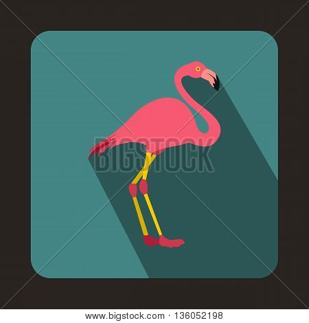 Pink flamingo icon in flat style on a bluegreen background
