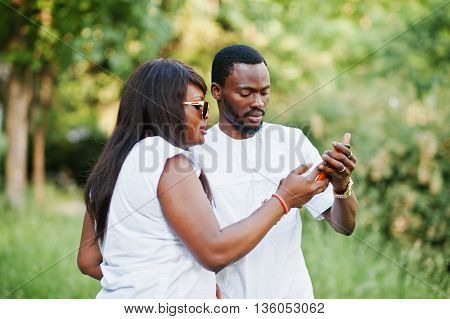 Black African Couple In Love Doing Selfie On They Phone