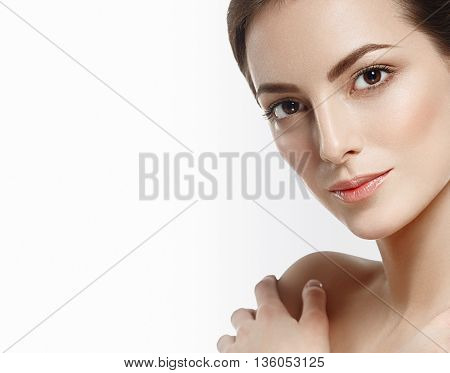 Beautiful Woman Portrait Face Studio Isolated On White