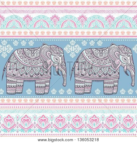 Ethnic Indian bohemian style elephant seamless pattern with tribal ornaments