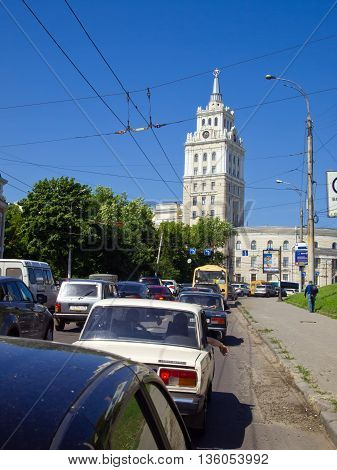 Voronezh, Russia - June 06, 2013, Busy traffic at the crossroads of the Revolution Avenue