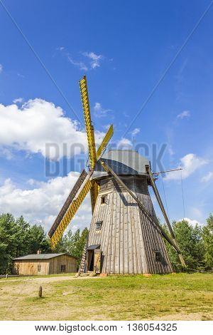 WDZYDZE KISZEWSKIE, POLAND - AUGUST 14: Historic wooden windmill