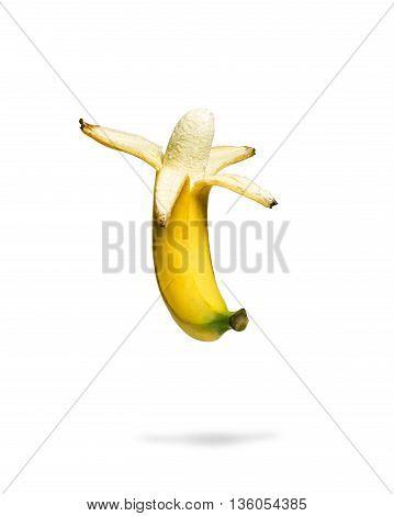 Image Open banana on a white isolated background