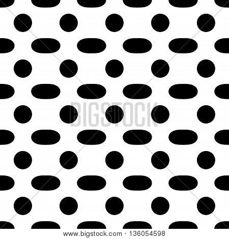 Oval geometric seamless pattern Fashion graphic background design. Modern stylish abstract texture. Monochrome template for prints textiles wrapping wallpaper website etc. VECTOR illustration