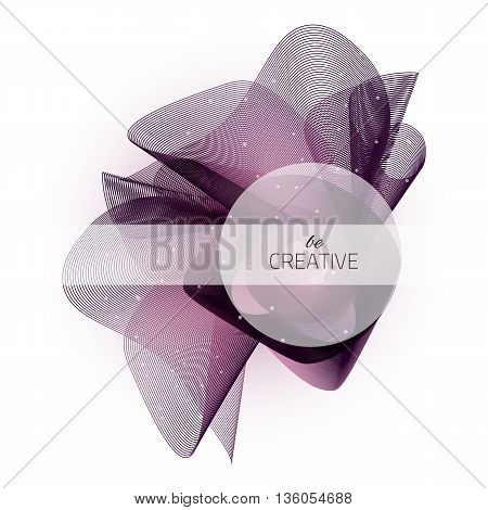 Futuristic colorful abstract. Vector design backdrop. Violet shine abstract flower. Vector grid texture. Disco background