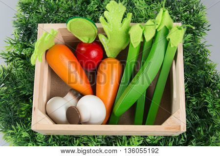 A collection fruits and vegetables for children
