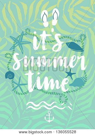 Summer hand drawn calligraphyc card. Vector illustration.