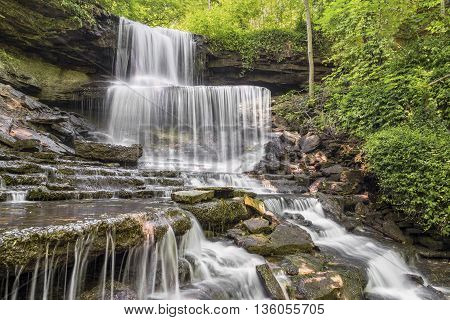 West Milton Cascades is a beautiful tiered waterfall hidden away in Miami County Ohio.