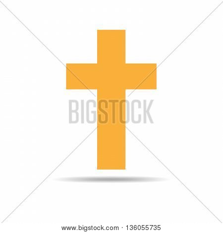 Cross icon - flat vector image. Simple yellow Christian Cross - vector illustration.