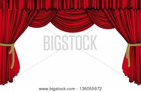 Large red theater curtain full vector background