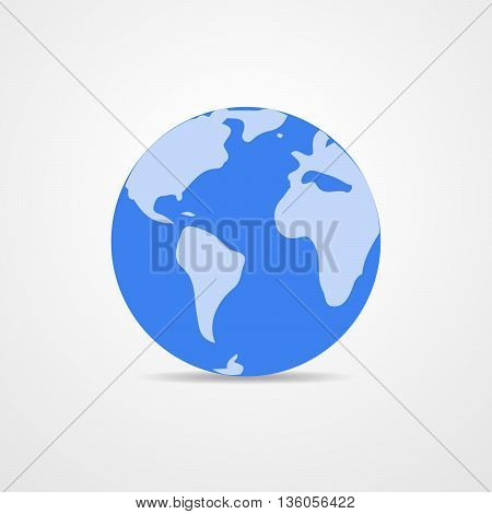Blue vector Earth globe isolated on white. Light - blue simple scheme of the globe. Globe earth Icon - vector illustration.