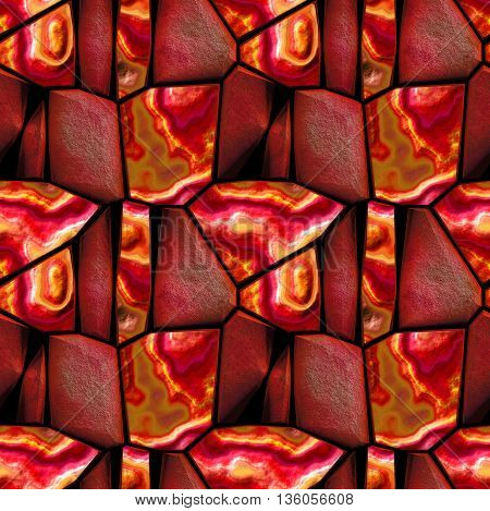 Seamless 3d relief pattern of red, orange and brown sharp polygonal grained stones. Background of red, orange, pink and white layered and grained stones