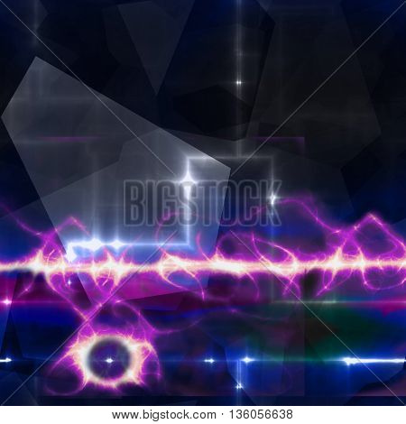 Abstract dark blue and black background with purple electrical discharge. Technology abstract background with flashing lights