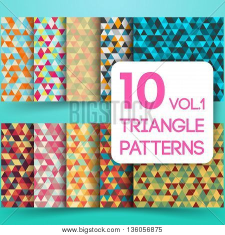 Set of colorful triangle vector background illustration. Triangle geometric mosaic seamless patterns. Vol. 1.