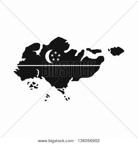 Map of Singapore with flag icon in simple style isolated on white background