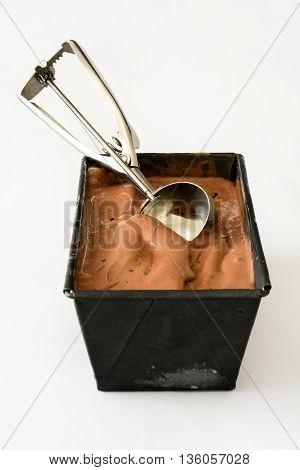 Chocolate ice cream scoop isolated on white background