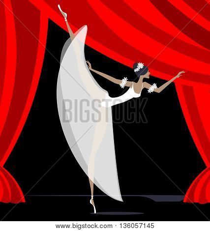 against red curtain dancing white ballet dancer