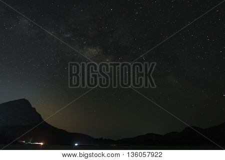 The Milky Way over the mountains. Long exposure photograph.