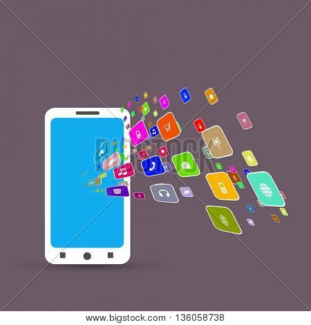 mobile phone with a set of colorful icons