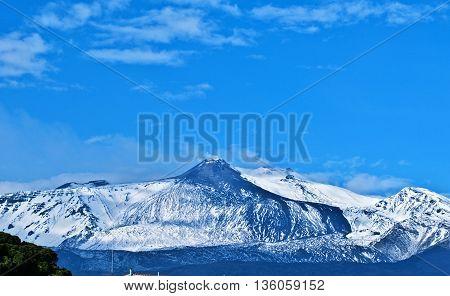magic etna in sicily, catania, Italy, Snow