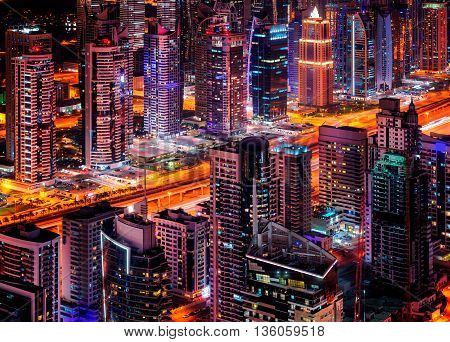 Majestic Dubai Marina Skyline During Night. United Arab Emirates.