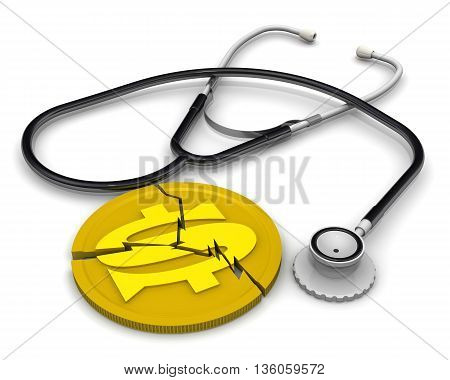 The crisis of the American economy. Cracked coin with the symbol of the US dollar and stethoscope lying on a white surface. Financial concept. Isolated. 3D Illustration