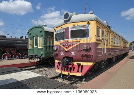 MOSCOW, RUSSIA - JUNE 23, 2016: Museum of Railway Transport of the Moscow railway electric train ER 22-38 series DC electric Riga Carriage Works produced from 1964 -1976 years