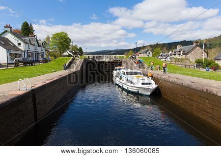 FORT AUGUSTUS, SCOTLAND, UK-MAY 14TH 2016: Beautiful spring weather was enjoyed by sailors on the Caledonian canal Fort Augustus, Scotland, UK on Saturday 14th May 2016