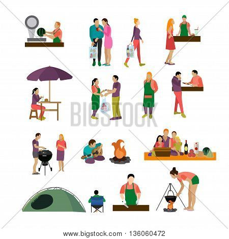 Vector set of people buying food and enjoying barbecue in a park. Icons and design elements isolated on white background.