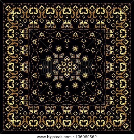 Black handkerchief with gold ornament. Square ornament for print on fabric, vector illustration.