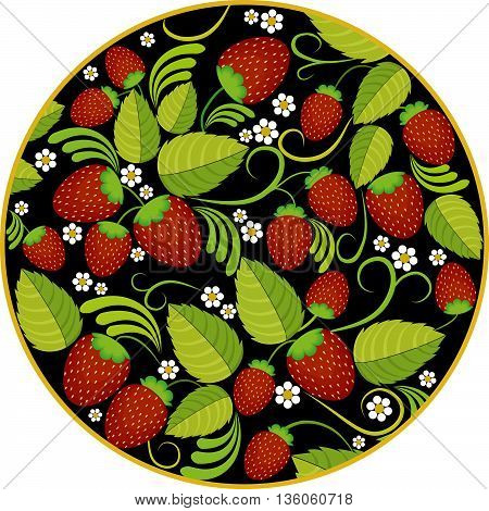 Strawberries background with green leaves, berries and white flowers in round frame on black